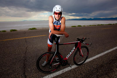 Triathelete Rob Lea training out near the Boneville Salt Flats.