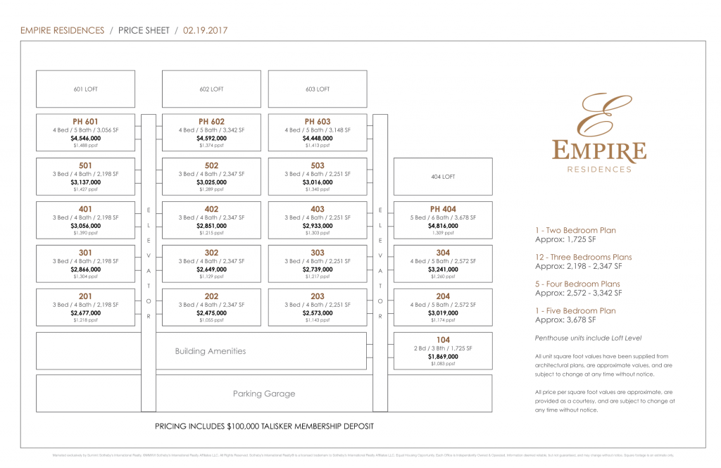 Empire Residences Pricing